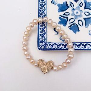 LC Lauren Conrad Pink Beaded Heart Bracelet
